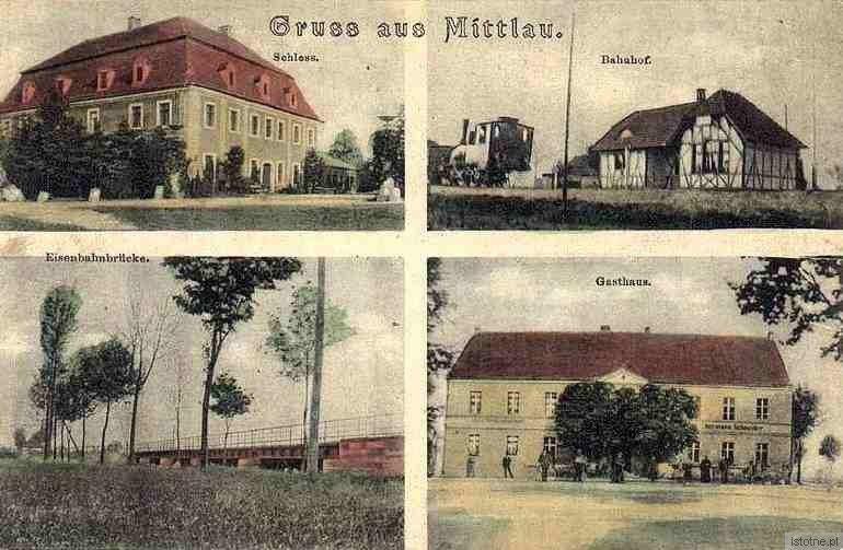 Pocztówka z pierwszej połowy XX wieku. Od lewej z góry: pałac, dworzec, most oraz gospoda