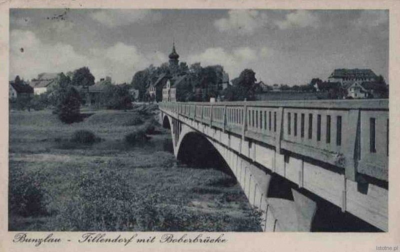 Most na Bobrze z widokiem na Bolesławice w latach 30. XX wieku