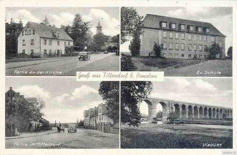 Pocztówka z lat 40. XX wieku. Od lewej (z góry): plebania, szkoła ewangelicka, widok na ulicę oraz wiadukt