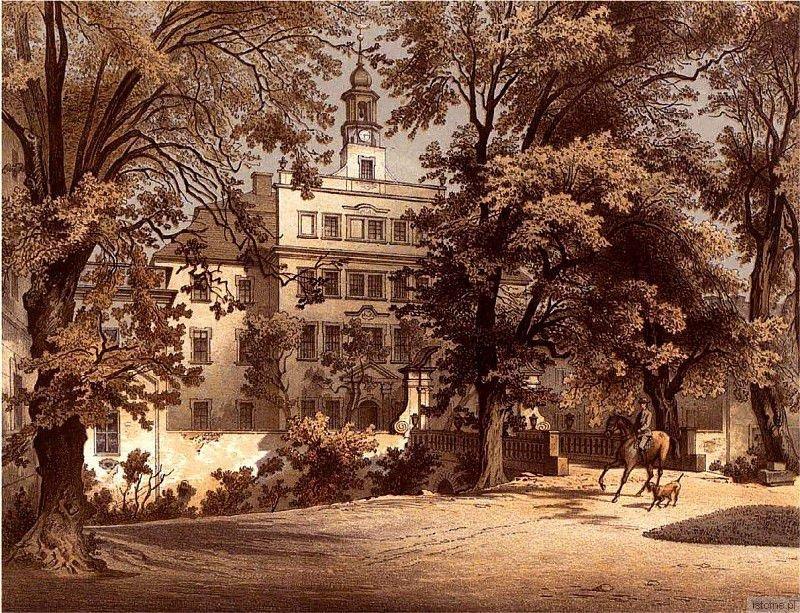 Pałac w Trzebieniu na litografii z teki Alexandra Dunckera w latach 90-tych XIX wieku