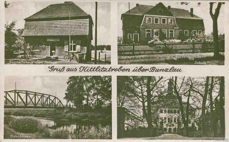 Trzebień na karcie pocztowej w latach 30-tych XX wieku. Od lewej z góry: sklep Söllingera, szkoła, most na Bobrze oraz pałac