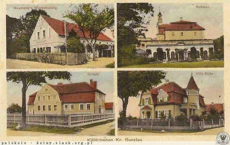 Trzebień w 1923 roku. Od prawej z góry widoczny pałac
