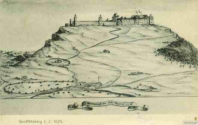 Zamek na rycinie z 1625 roku, przed spaleniem w okresie wojny 30-letniej