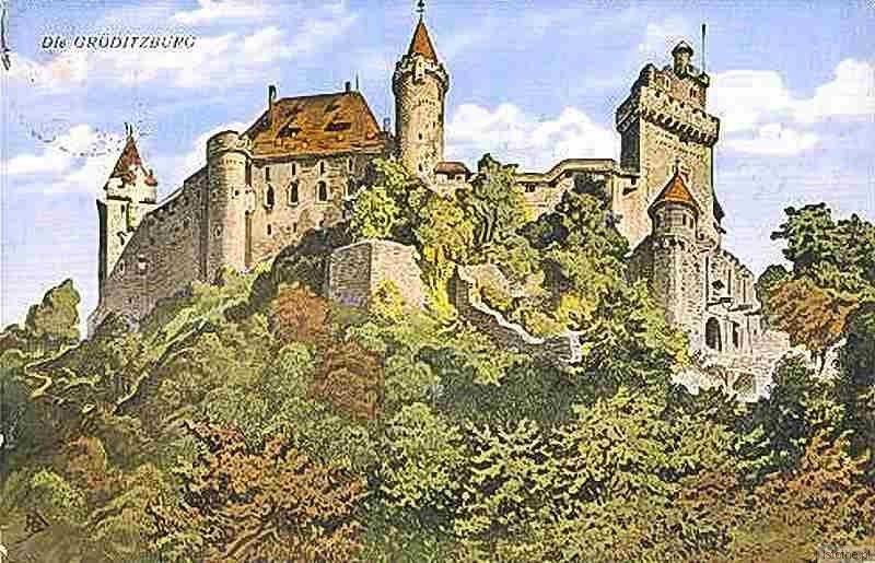 Zamek Grodziec na kolorowej pocztówce po odbudowie