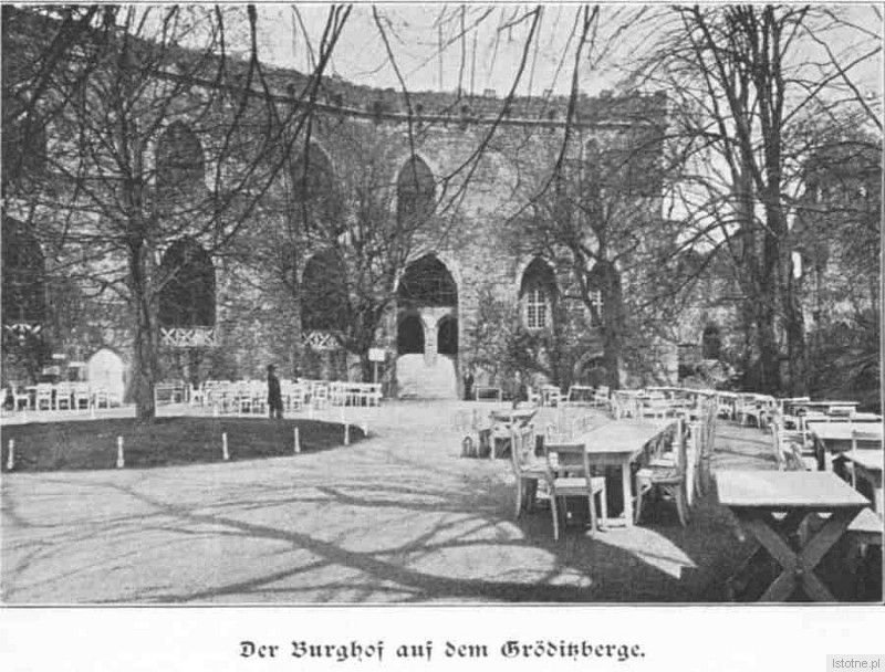 Dziedziniec zamku na początku XX wieku