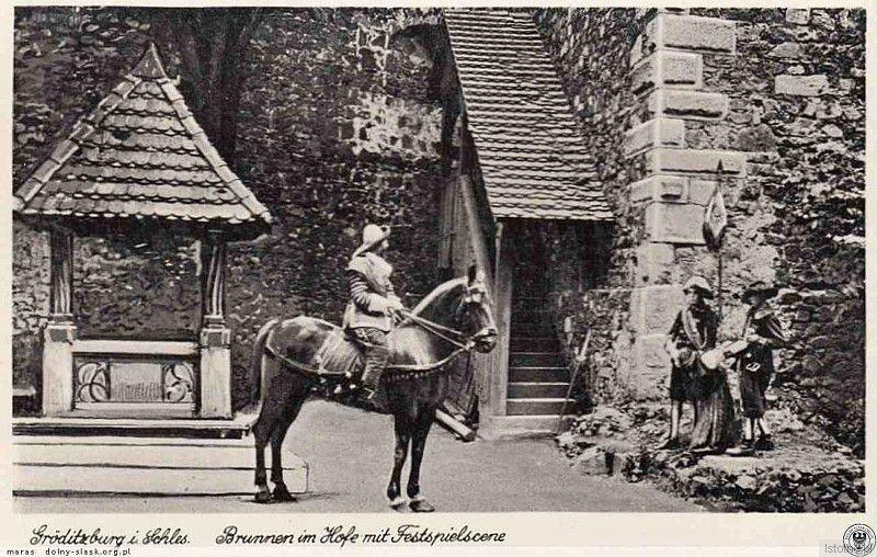 Spektakl historyczny na zamku w latach 30. XX wieku. Obecnie na zamku w sierpniu rozgrywany jest Turniej Łuczniczy o Srebrny Pierścień Kasztelana