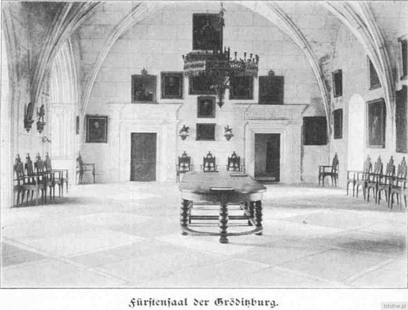 Sala zamkowa na początku XX wieku