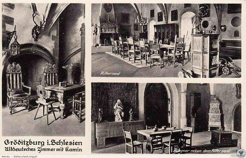 Wnętrza zamku w latach 30. XX wieku. Od lewej: sala z kominkiem, sala rycerska oraz sala sąsiednia do sali rycerskiej