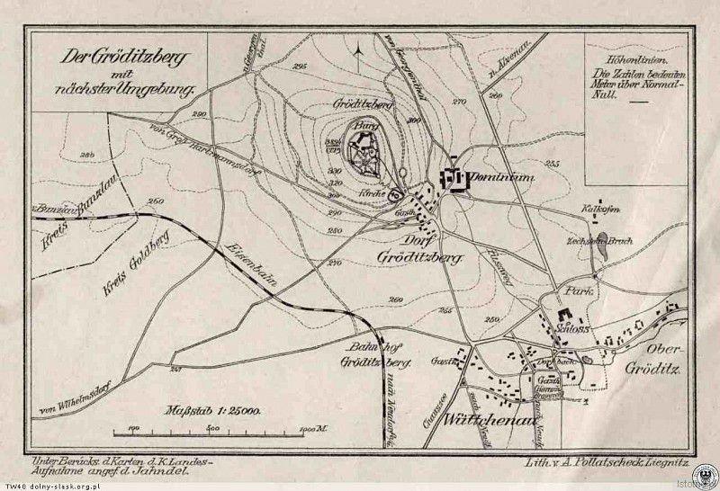 Mapa z 1909 roku, w centralnej części jest ulokowany zamek, poniżej pałac i wieś Grodziec