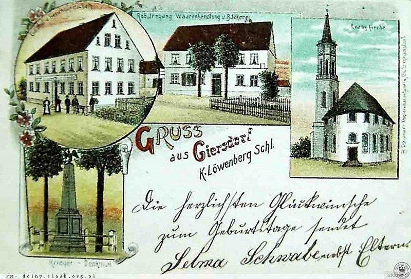 Pocztówka pochodzi z pierwszych lat XX wieku. Od lewej z góry: karczma,  sklep, piekarnia, kościół ewangelicki oraz pomnik