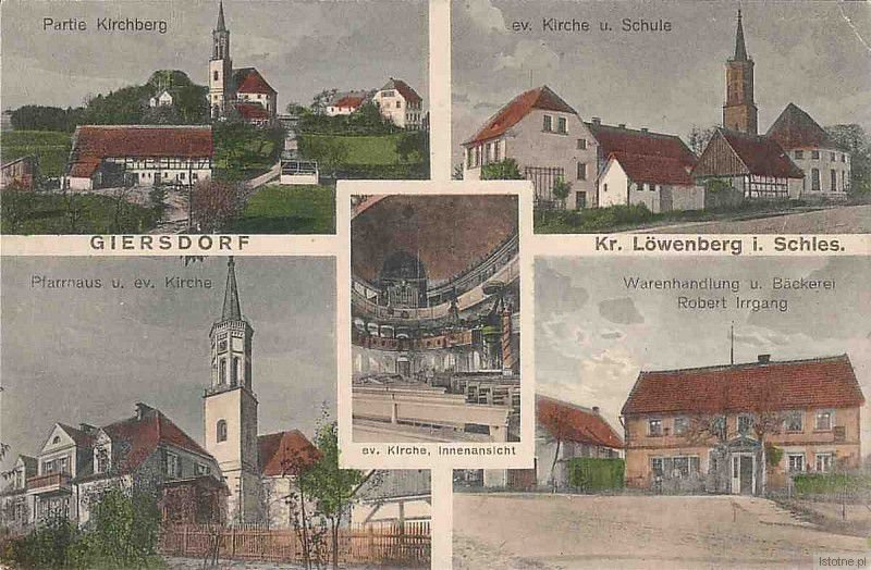 Lata 30. XX wieku. Od lewej z góry widzimy: kościół, szkołę, plebanię  oraz piekarnię