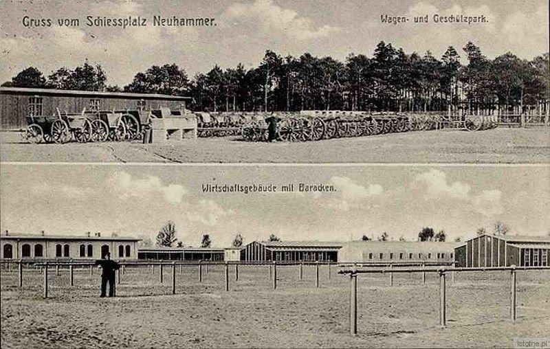 Widokówka prezentuje plac ćwiczeń, ok. 1914 r.
