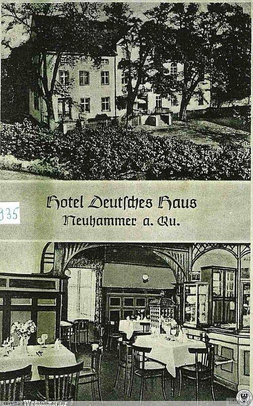 """Hotel """"Niemiecki Dom"""" na pocztówce z 1935 r."""