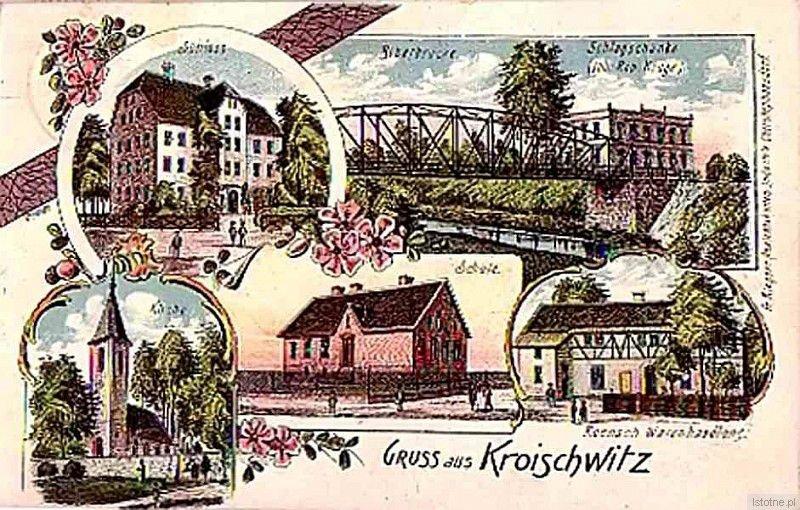 Kraszowice na początku XX wieku. Od lewej z góry: pałac, most na Bobrze, dom nr 19, kościół św. Jadwigi, szkoła oraz sklep
