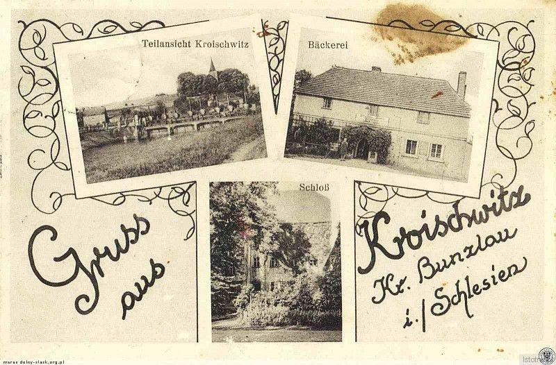 Widokówka z 1938 roku prezentuje: widok ogólny na osadę, piekarnię i pałac