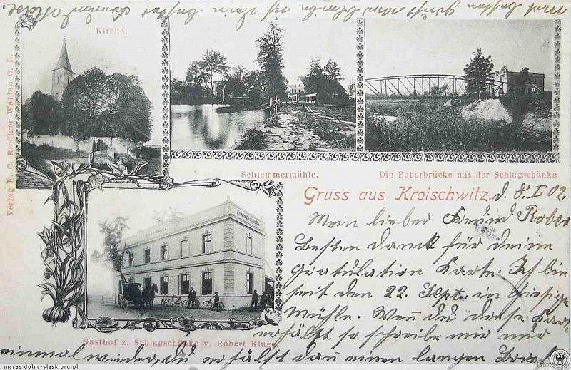 Karta pocztowa z początku XX wieku. Od lewej z góry: Kościół, młyn, most drogowy i gospoda
