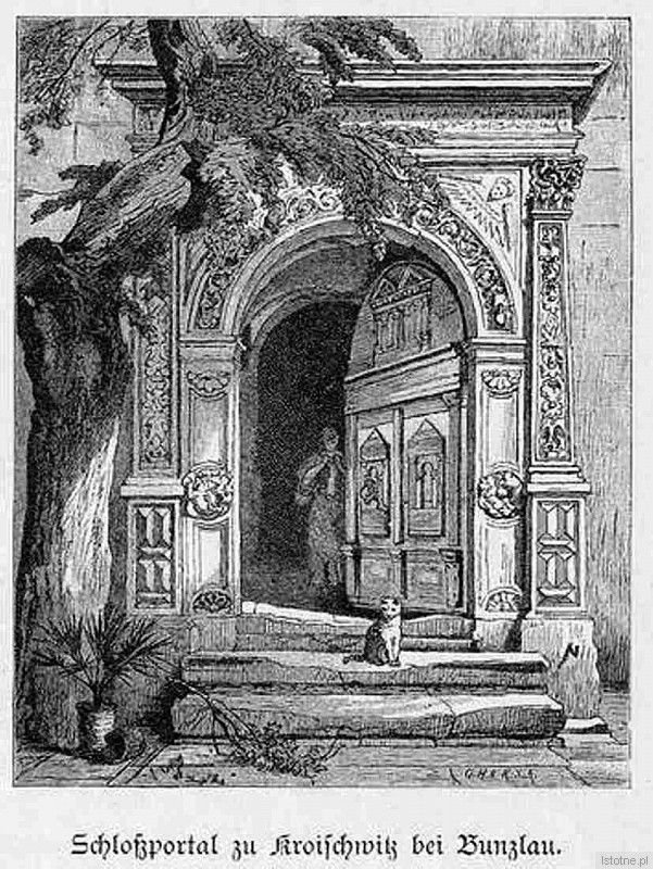 Portal pałacu w Kraszowicach na rycinie z XIX wieku