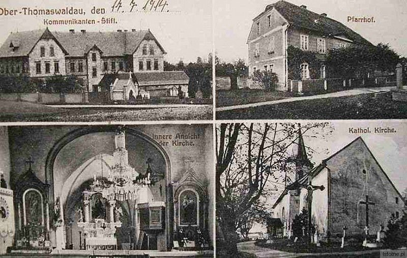 Kościół św. Jadwigi. Pocztówka z 1914 roku