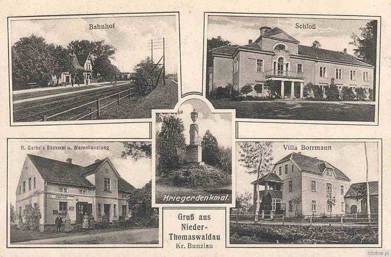 Pocztówka z początku XX wieku. Widzimy na niej: dworzec, pałac, piekarnię, pomnik ofiar wojny oraz willę Borrmanna