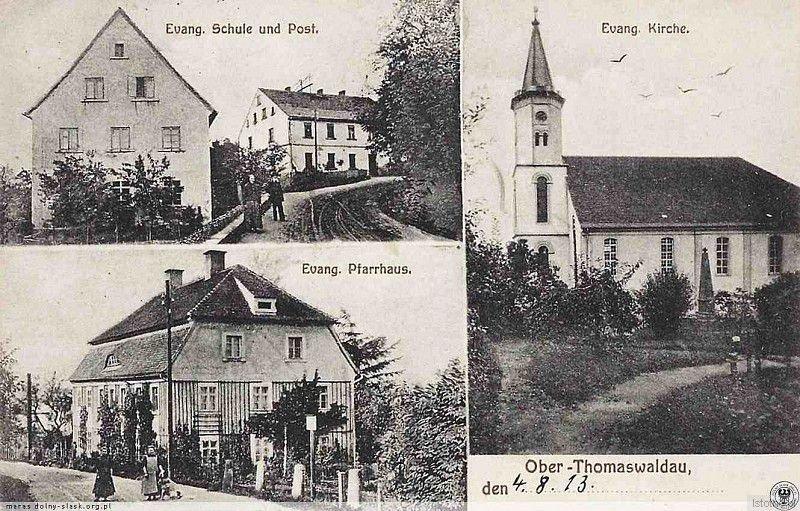 Kościół ewangelicki na pocztówce z 1913 roku