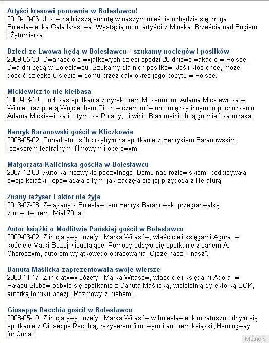 Informacje o wydarzeniach i działaności Józefiny i Marka Witasów opublikowane na naszym portalu istotne.pl