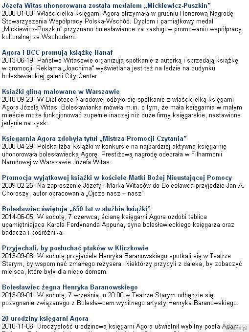Informacje o wydarzeniach i działaności Józefiny i Marka Witasów opublikowane na naszym portalu
