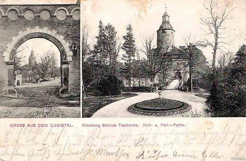 Zamek z fragmentem ogrodu na początku XX wieku