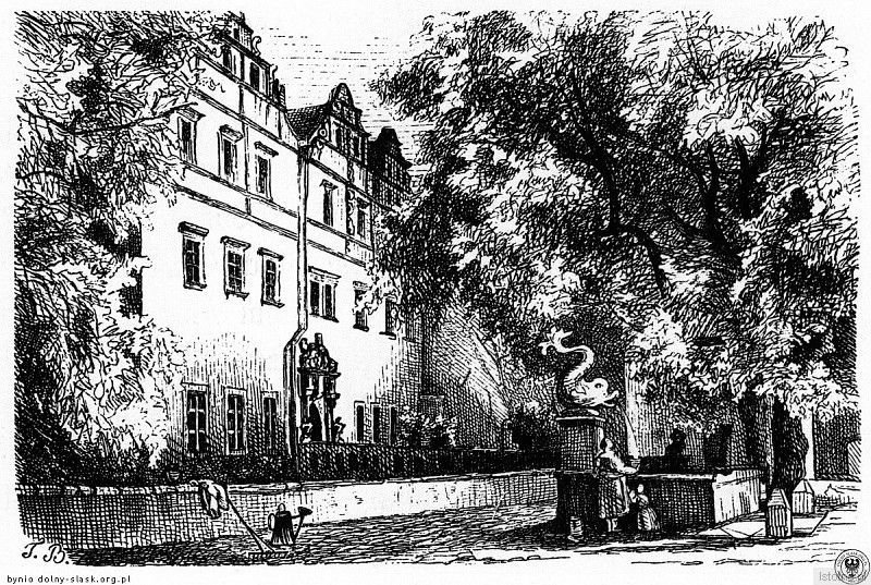 Pałac na grafice Theodora Blätterbauera w II połowie XIX wieku