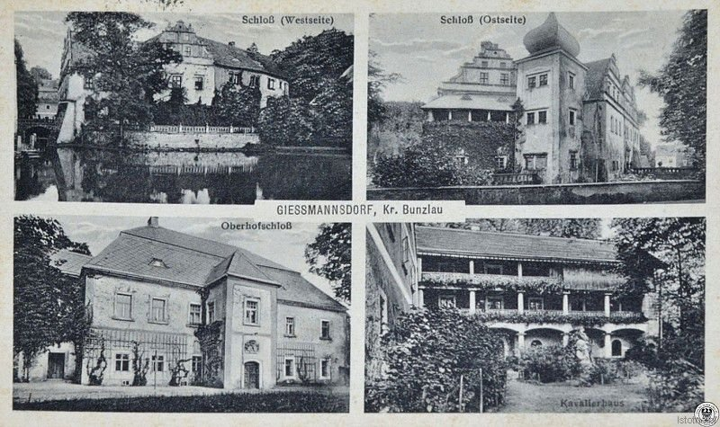 Pałac w Gościszowie w latach 30. XX wieku. W górnej części pocztówki widzimy ujęcie od strony zachodniej i wschodniej pałacu