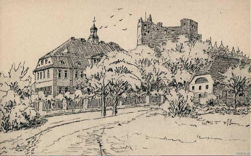 Pocztówka prezentuje stary zamek, pałac oraz niezachowany budynek gospodarczy