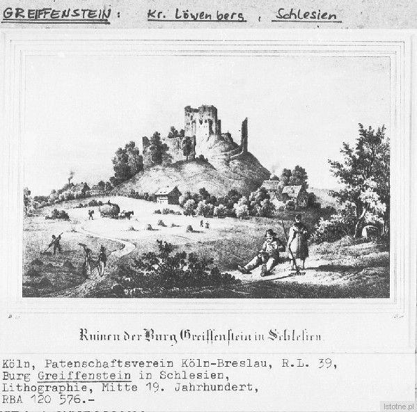 Zamek na ilustracji z ok. 1850 r.