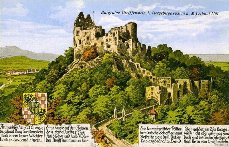 Ruiny zamku na kolorowej pocztówce z przełomu XIX i XX wieku