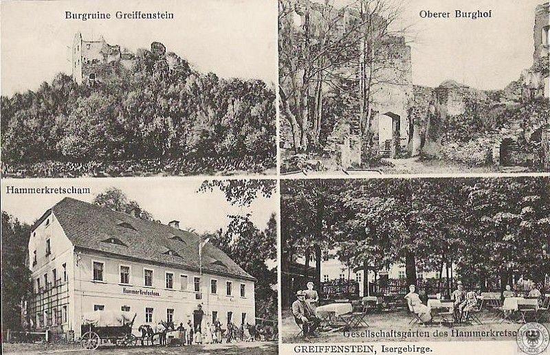 Na karcie pocztowej z początku XX wieku widzimy ruiny zamku oraz gospodę