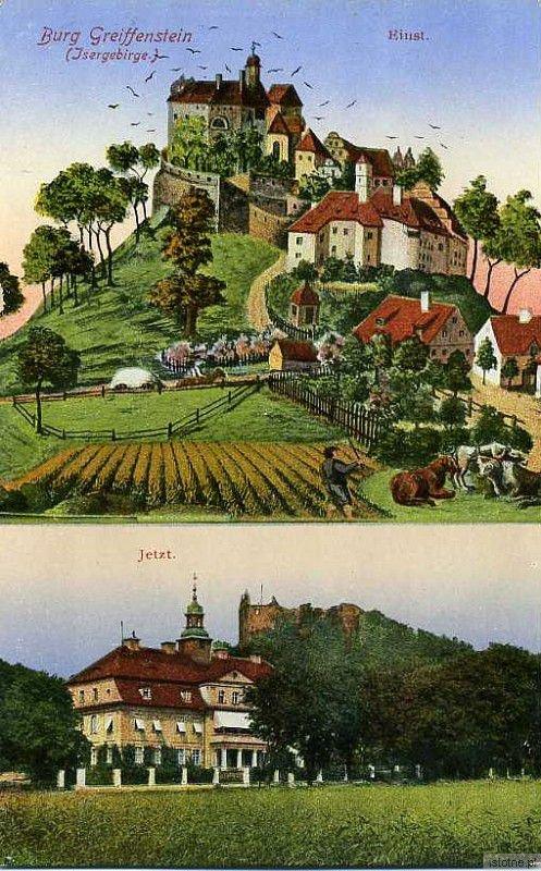 Zamek i pałac na kolorowej karcie pocztowej
