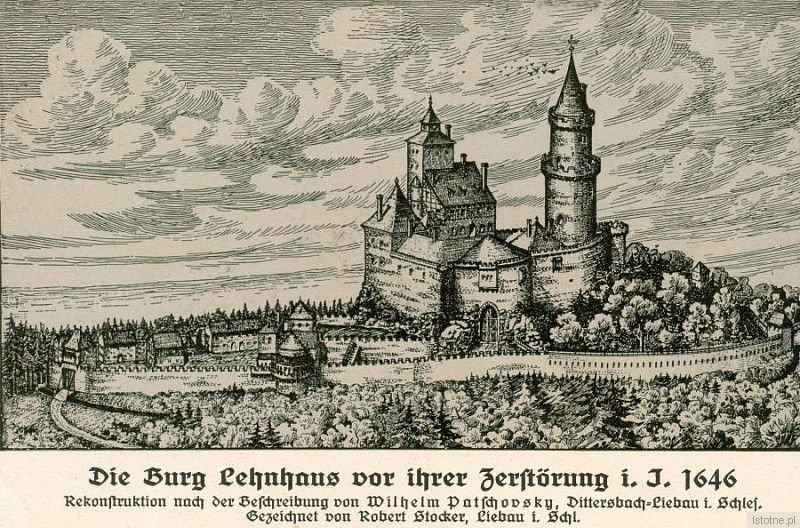 Grafika prezentuje zrekonstruowany zamek w 1646 roku