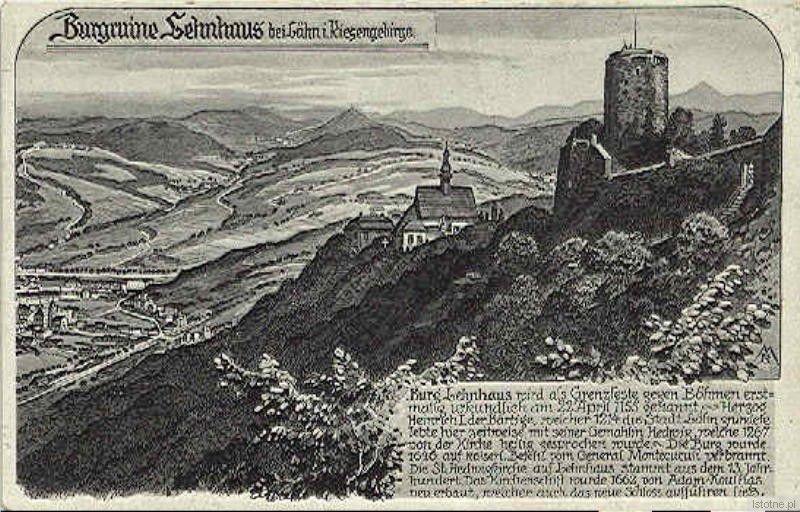 Rycina przedstawia zamek i kościół św. Jadwigi