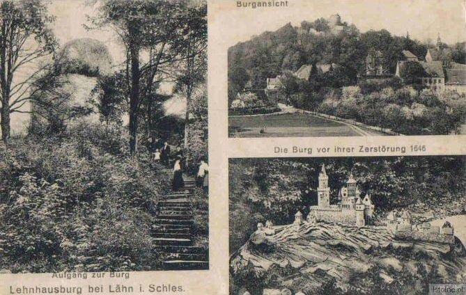 Karta pocztowa prezentuje pozostałości zamku oraz jego rekonstrukcję z 1646 roku