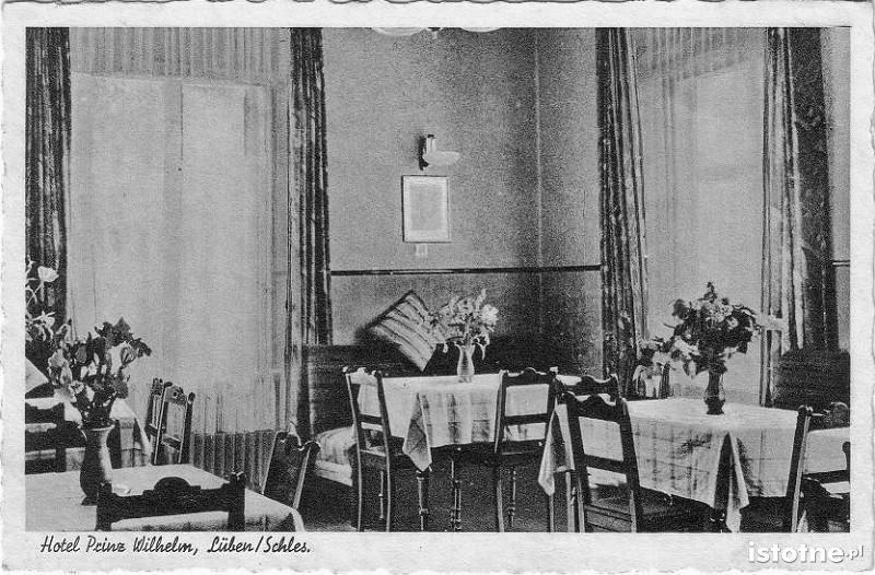 Dawne wnętrze Hotelu Prinz Wilhelm na ulicy Kolejowej
