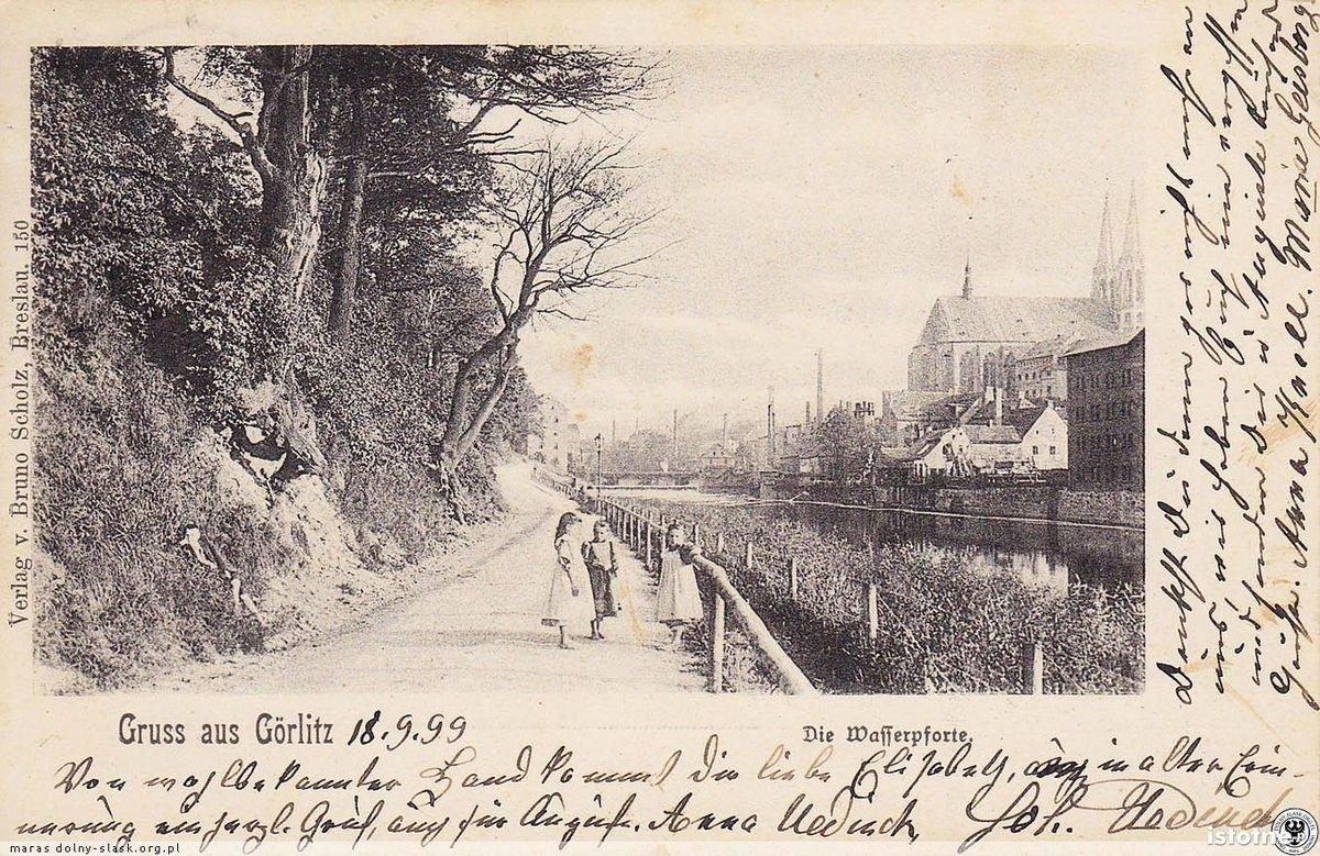 Widokówka z 1899 r. Ul. Nadbrzeżna na wysokości Nysy