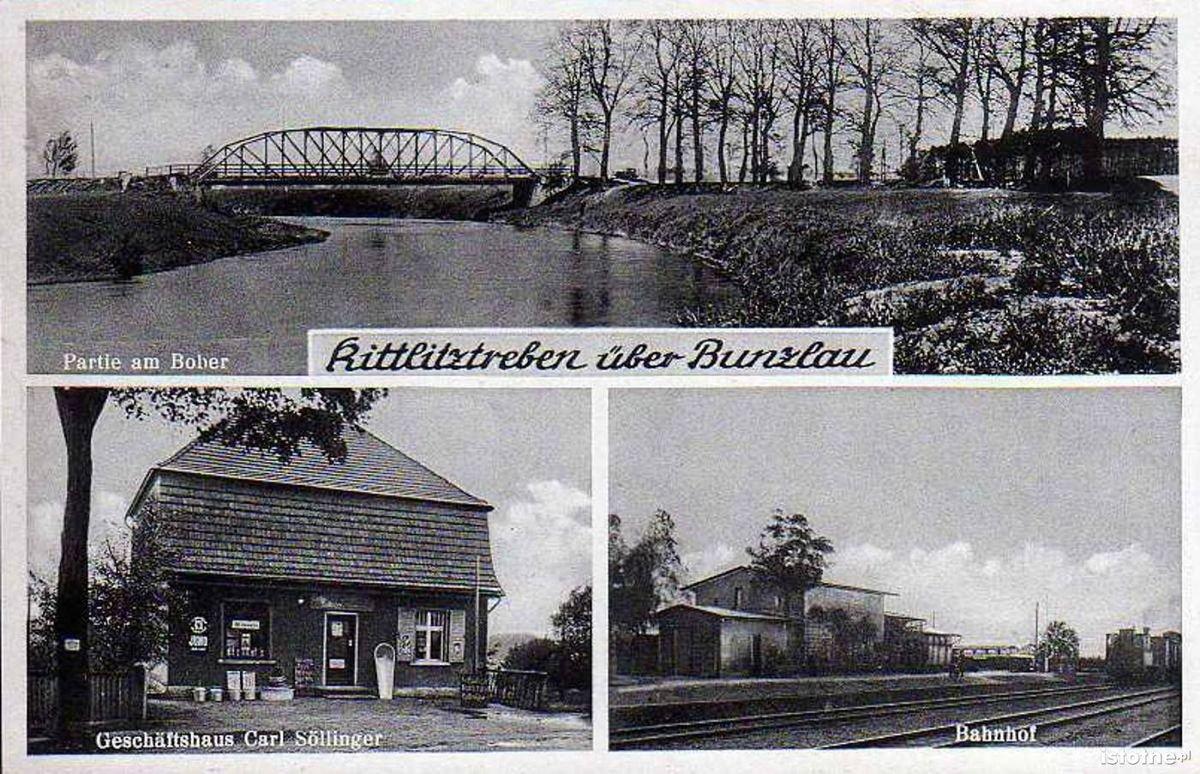 W prawej dolnej części fotografii: stacja w Trzebieniu