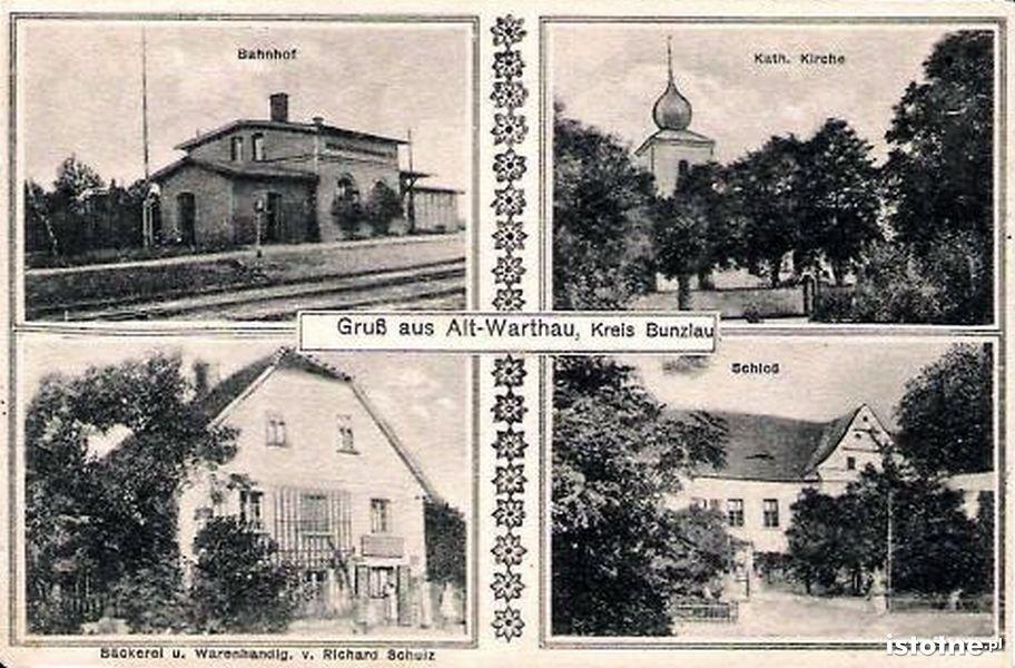Dworzec kolejowy w Warcie Bolesławieckiej (z lewej górnej strony)