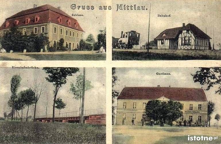 W górnym prawym rogu: budynek stacji w Iwinach