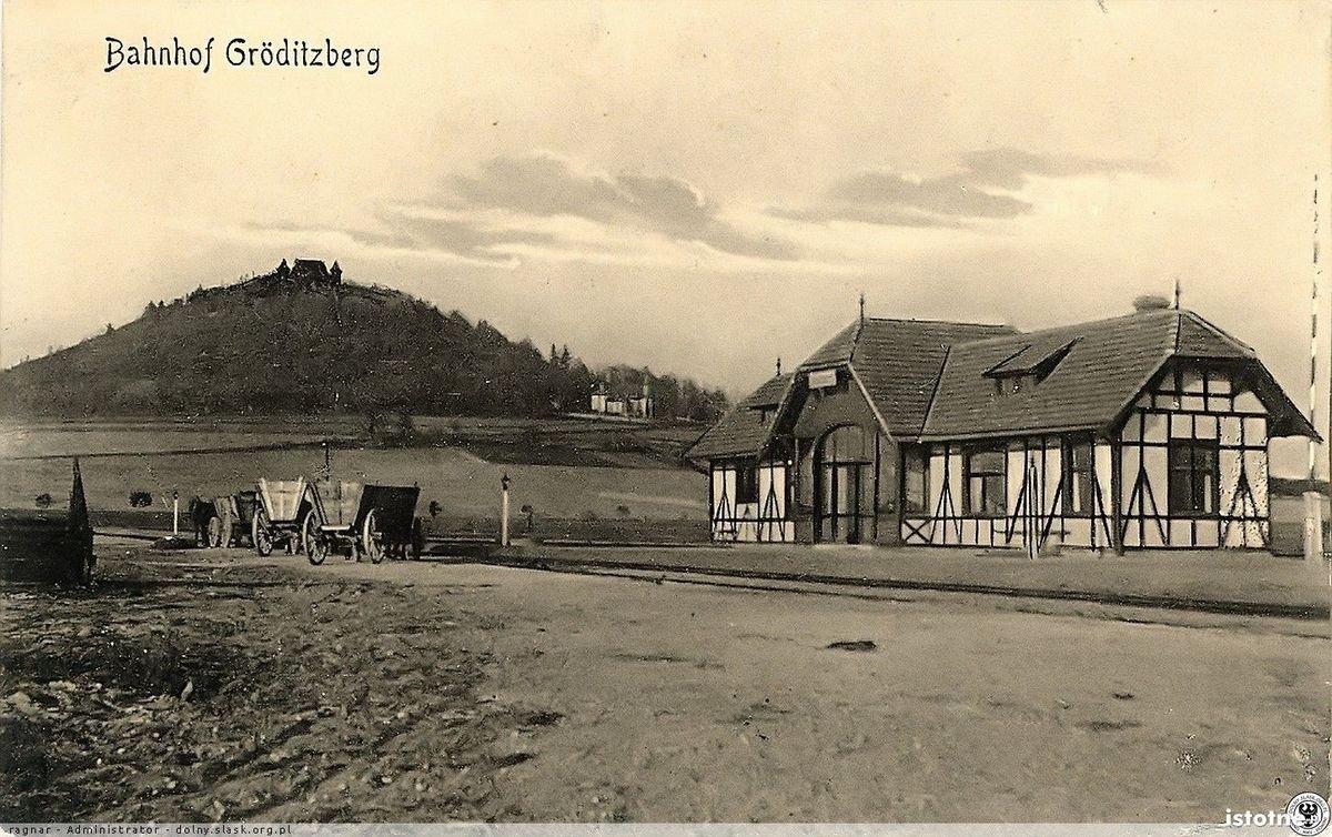 Budynek dworca na przystanku kolejowym Grodziec Zamczysko