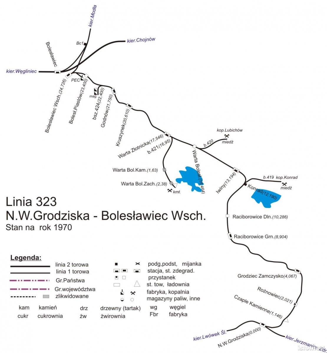 Plan linii Bolesławiec Wschodni – Nowa Wieś Grodziska