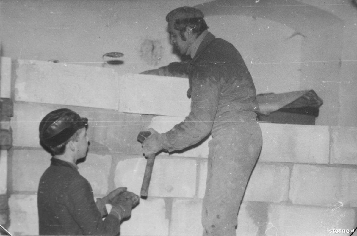 Prace remontowe przy dawnej sali ćwiczeń