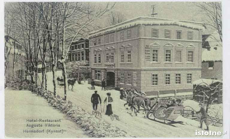 Widok zimowy w 1900 r. przy hotelu Viktoria
