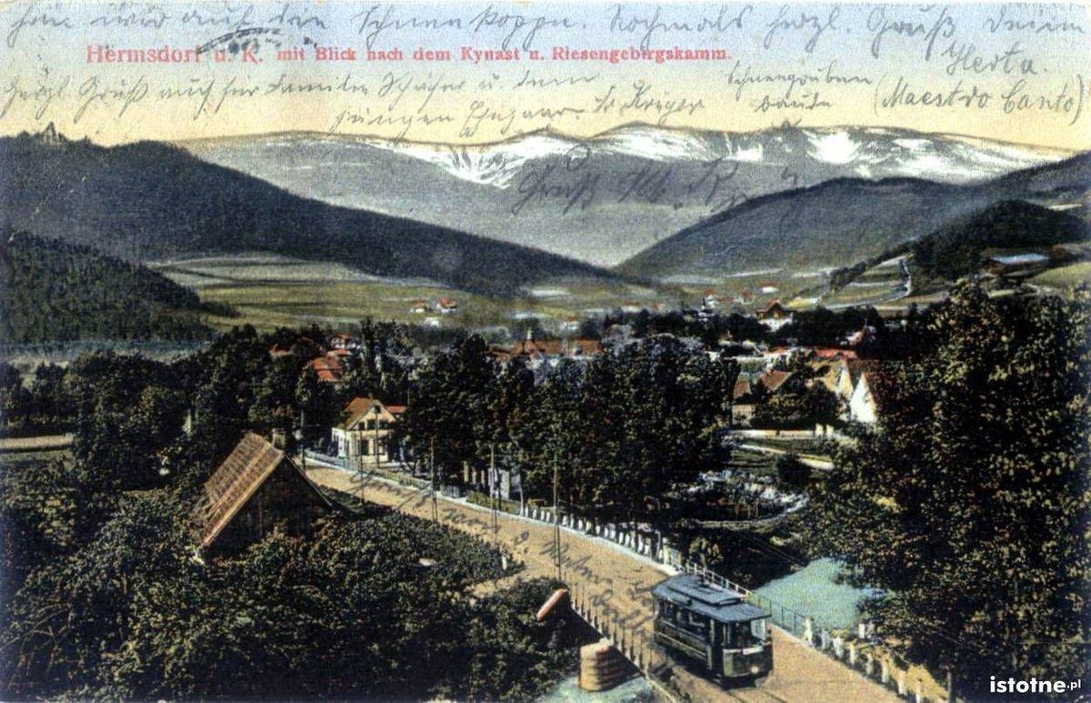 Tramwaj przejeżdża rzekę Wrzosówkę w 1925 r.
