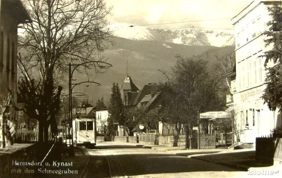 Widok na śnieżne kotły pod koniec lat 30. XX w.