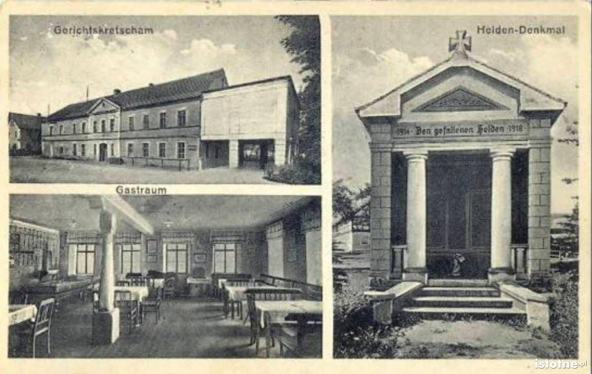 Na widokówce z 1935 r. widzimy gospodę i pomnik poległych w I wojnie światowej