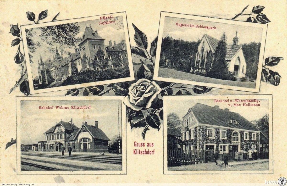 Na pocztówce z pierwszej połowy XX w. widzimy: zamek, kaplicę, dworzec i piekarnię
